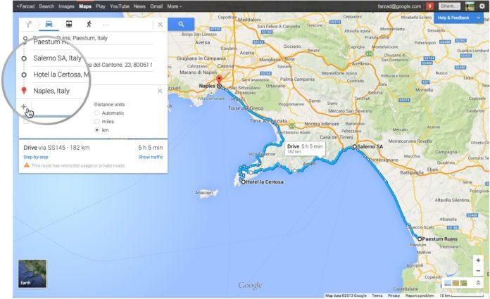 Imagem de: Google Maps agora permite configurar paradas múltiplas em um trajeto