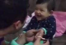 Imagem de: Fofura do dia: bebê aprende a dar susto no pai e viraliza na internet